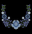 fashion embroidered floral neckline vector image vector image