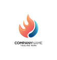 fire with water logo design template