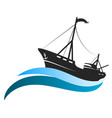 fishing vessel on blue waves vector image vector image