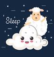 good night sleep cartoon sheep animal cloud vector image vector image
