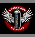 graffiti spray can with wings vector image vector image