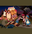 hansel and gretel near candy house vector image