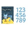 Happy Birthday Cartoon Greeting Card vector image vector image