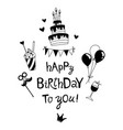 happy birthday lettering b-day cake with candles vector image vector image