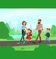 happy cartoon father mother brother and sister vector image