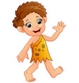 happy little cavemen cartoon presenting vector image vector image