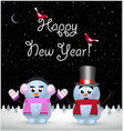 happy new year card of cute snowman and snowgirl vector image