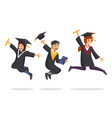 happy student jumping in graduation ceremony party vector image
