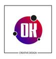 initial letter ok logo template design vector image