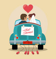 just married couple in love car vector image vector image
