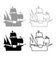 medieval ship icon outline set grey black color vector image vector image