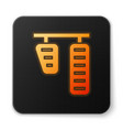 orange glowing neon car gas and brake pedals icon vector image vector image