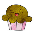 quirky hand drawn cartoon happy muffin vector image vector image