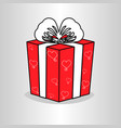 red gift box with white ribbon bow vector image