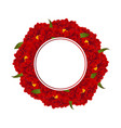 red peony flower banner wreath vector image vector image