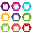 sack full of flour icon set color hexahedron vector image vector image