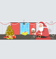 santa claus holding magic glass ball merry vector image