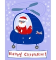 Santa Claus steers in a helicopter vector image