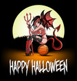 sexy devil woman sitting on a basketball ball vector image