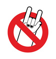 Stop rock Ban for lovers of rock music Red vector image vector image