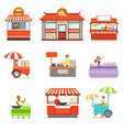 street food kiosk set on wheels and without with vector image vector image