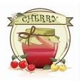 Sweet cherry jam jar vector image