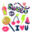 sweet stickers candies fruits and text vector image