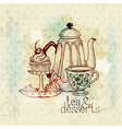 Tea and desserts - vintage menu card vector | Price: 1 Credit (USD $1)
