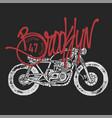 vintage motorcycle hand drawn print design vector image vector image
