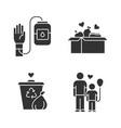 volunteering glyph icons set altruistic activity vector image vector image