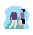 volunteering social worker elderly man character vector image