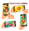 watching video on smartphone set mobile vector image vector image