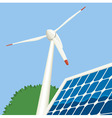wind turbine and solar panel vector image vector image
