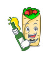 with beer burrito mascot cartoon style vector image vector image