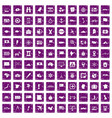 100 cartography icons set grunge purple vector image vector image