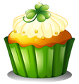 A delicious cupcake for St Patricks day vector image vector image