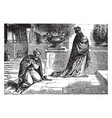 a pharisee and a publican pray in the temple vector image vector image