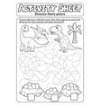 activity sheet dinosaur theme 1 vector image vector image