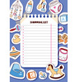 baby shopping list cartoon kids stickers vector image