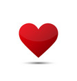 big red love heart with shadow in blank background vector image vector image