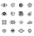 bitcoin and blockchain cryptocurrency icons vector image vector image