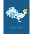 blue and yellow flowersilhouettes rooster vector image vector image