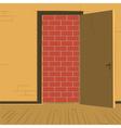 brick wall open door vector image