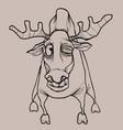 cartoon horned dried elk winks in pencil drawing vector image