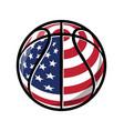 cartoon stylized basketball with usa flag vector image vector image