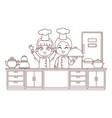 chefs kids cartoon brown lines vector image
