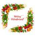 christmas frame with xmas garland greeting card vector image vector image