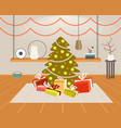 christmas green fir tree with gift present boxes vector image