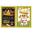 cinco de mayo mexican holiday card of fiesta party vector image vector image