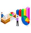 colleagues analyze indicators guys are working vector image vector image